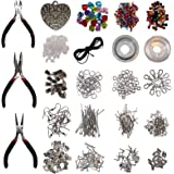 1000 Piece Jewellery Making Findings Supplies Kit with Pliers by Kurtzy - Silver Plated 100% Nickel Free Starter Set - Craft Wire, Hoops for Pendants, Plier Set, Cutting Tool, Beads and Accessories