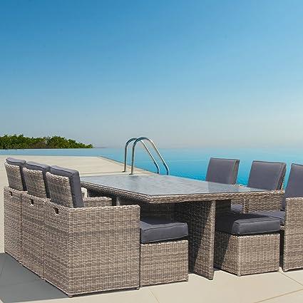 LuxuryGarden - Mesa 10 Plazas Con 6 poltroncine de ratán muebles de ...