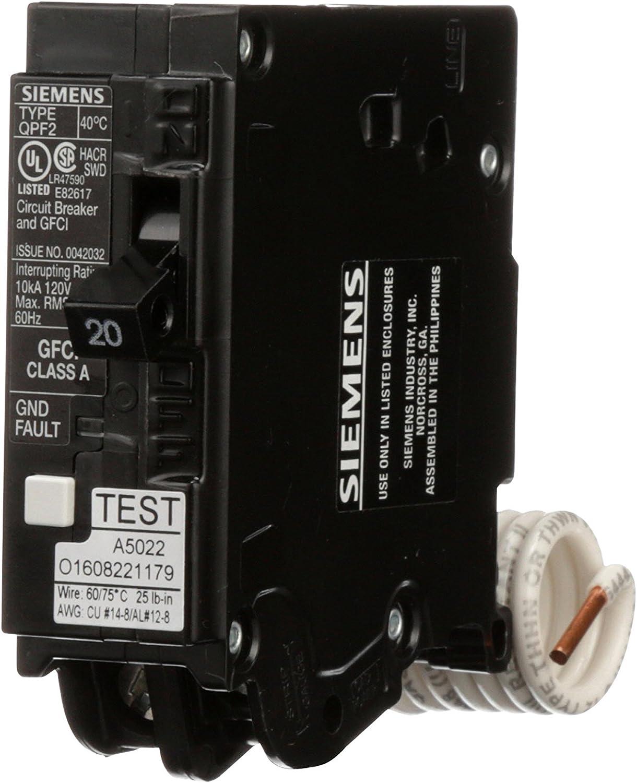10,000 Aic, 2 Pole Renewed Siemens QF220A Ground Fault Circuit Interrupter 20 Amp 120V