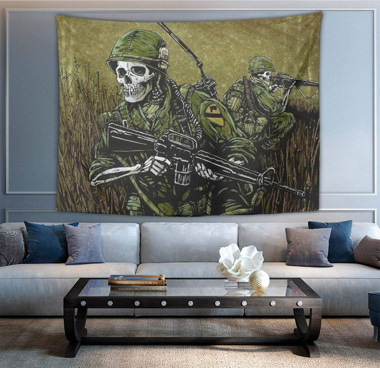 NiYoung Hippie Wall Tapestry Bedspread Picnic Blanket Wall Art Polyester Army Camouflage Sugar Skull Tapestries Home Decorations for Living Room Bedroom Dorm Decor in 60×90 Inches
