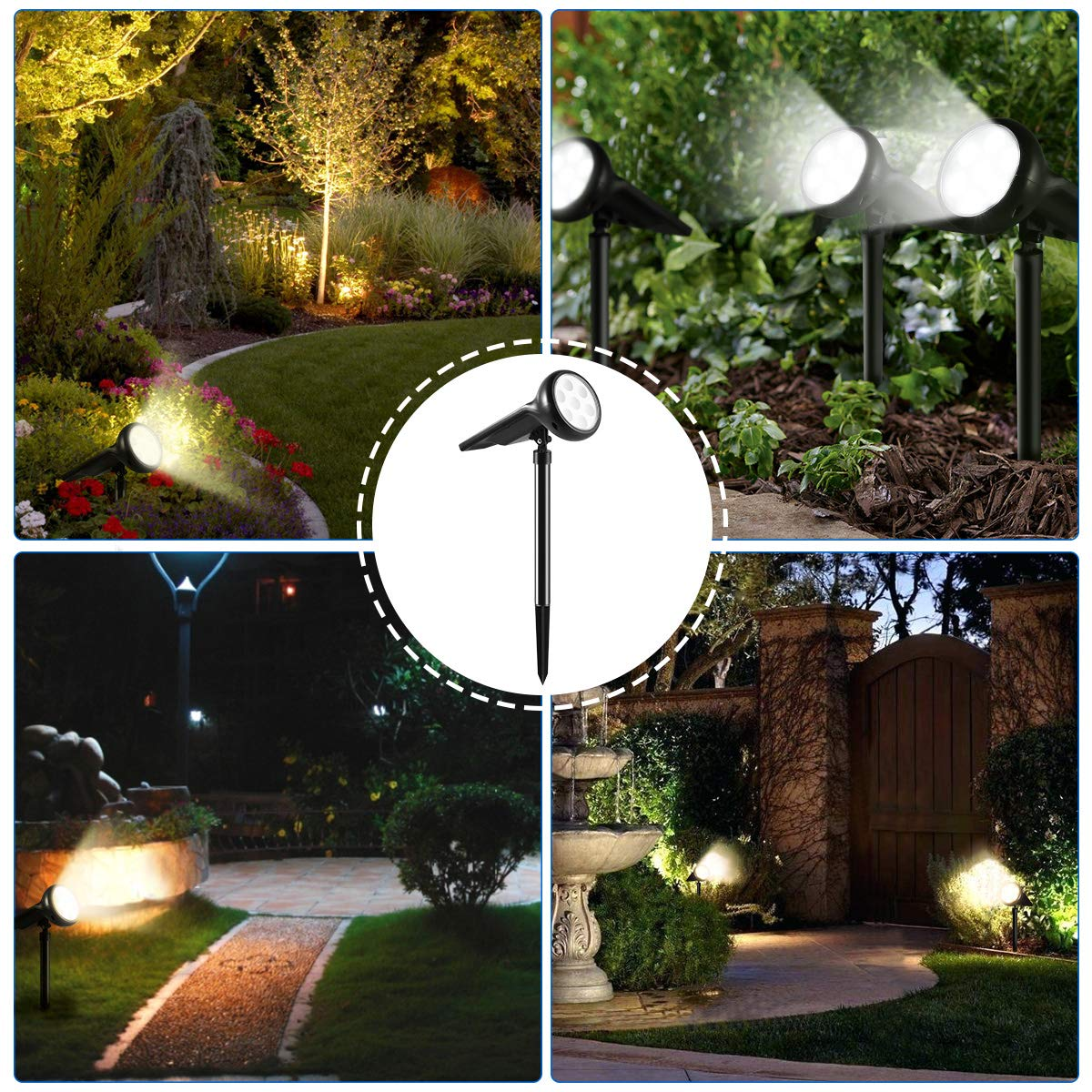 Pool Walkway Driveway Patio 4 Pack YUNLIGHTS Solar Lights Outdoor Adjustable Solar Garden Spotlights Stake with Auto On//Off for Yard Waterproof 7 LED Solar Landscape Light Outdoor Pathway
