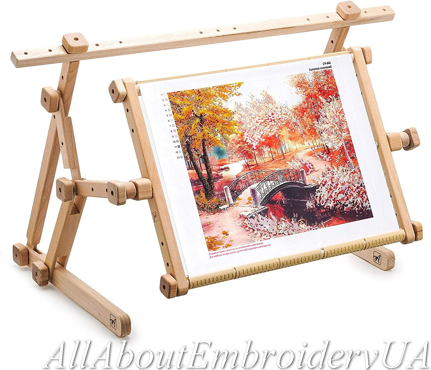 11.8 x 15.8 AllAboutEmbroideryUA Embroidery Adjustable Lap Table Stand Hands Free Needlepoint Wooden Cross Stitch Scroll Frame Tapestry Holder Bed Table Stand Craft Tool