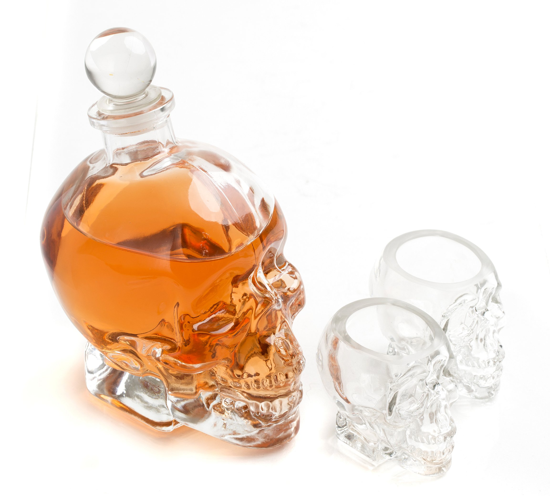 Large Skull Face Decanter with Skull Shot Glasses Use Skull Head Cup For A Whiskey, Scotch and Vodka Shot Glass, 25 Ounce Decanter 3 Ounces Shot Glass