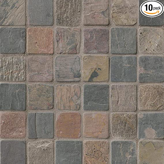 ms international mixed color 12 in x 12 in x 10mm tumbled slate mesh mounted mosaic tile 10 sq ft 10 pieces per case