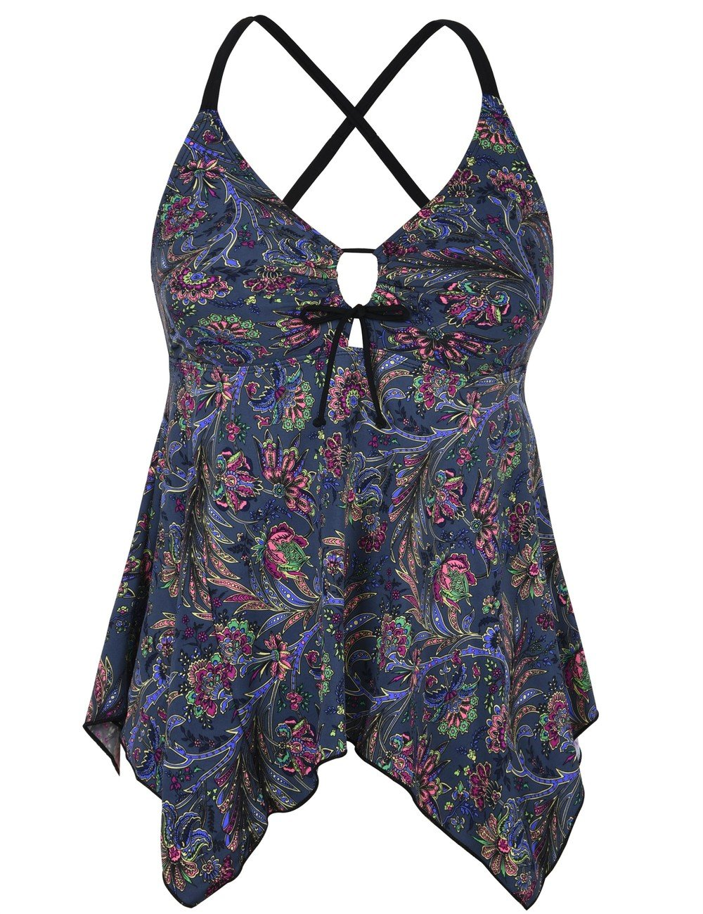 8059ad31eca Galleon - Firpearl Women s Blue Red Floral Flowy Swimsuit Crossback Plus  Size Tankini Top US14 Blue Red Floral