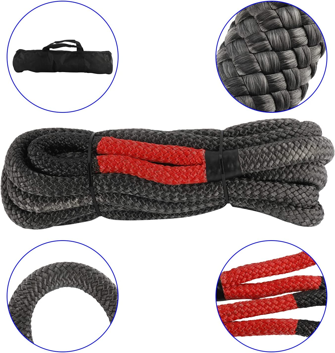 YaeMarine 1/×30ft Kinetic Energy Rope Truck SUV Tow Rope Recovery Rope 30000lbs Towing Rope