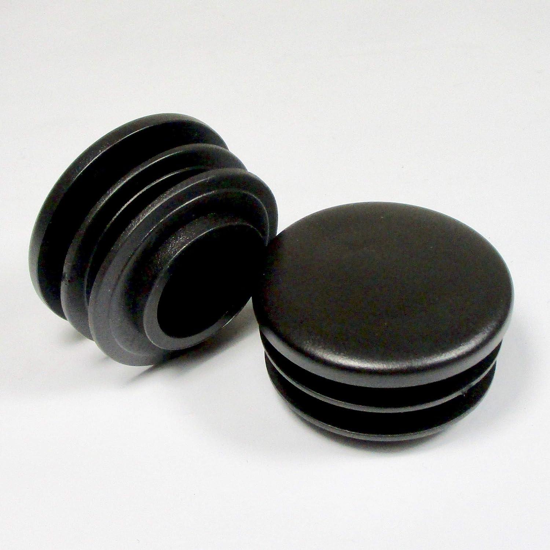 ajile - 4 piezas - Contera redonda acanalada para tubos - diá metro 50 mm - NEGRO - EPR150-M