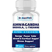 Cortisol Manager - Adrenal Support - Thyroid Support. Clinically Proven Amounts Unlike Competitors, 120 Pills. Adaptogen…