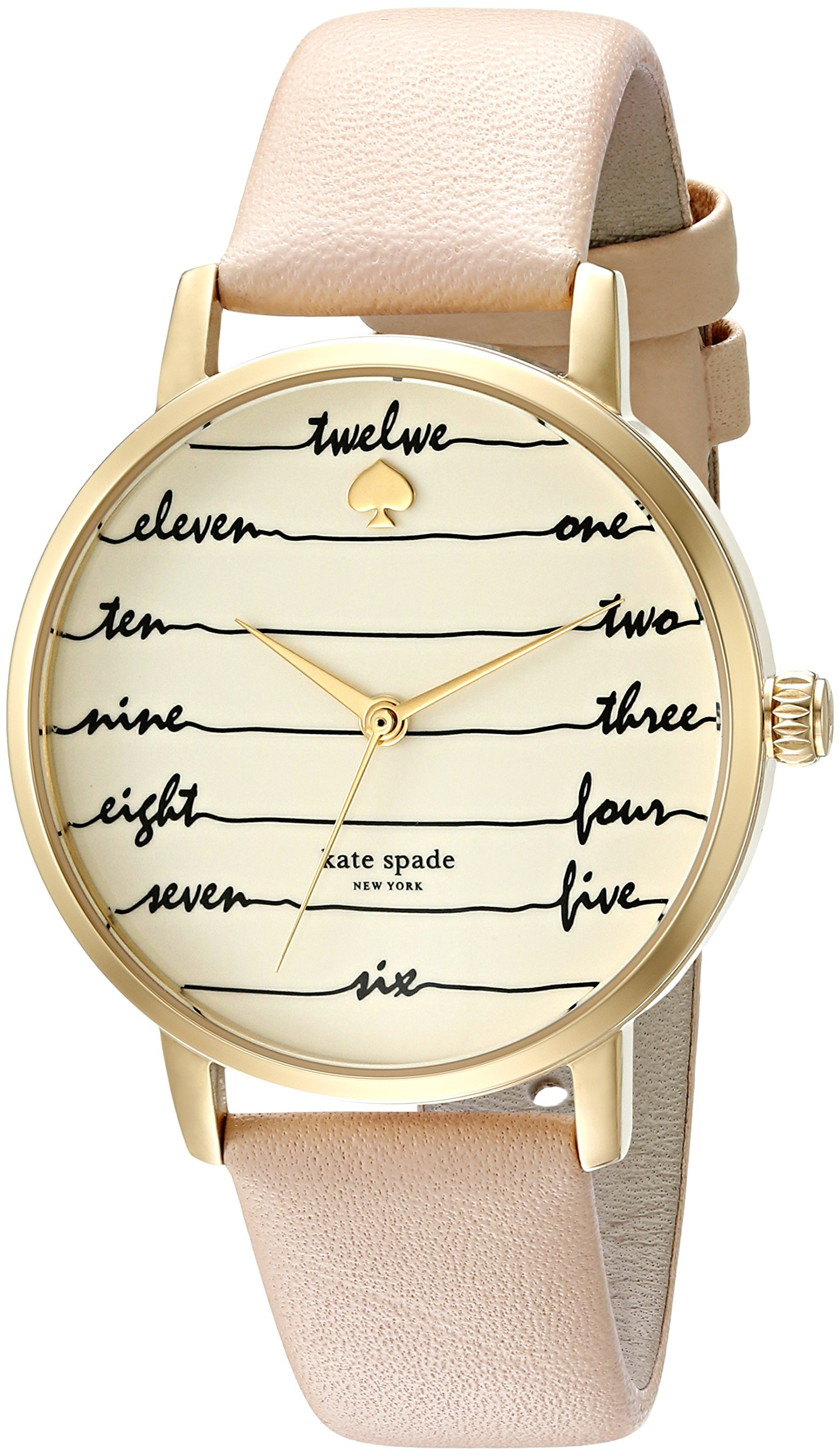 kate spade new york Women's 'Metro' Quartz Stainless Steel and Leather Casual Watch, Color:Brown (Model: KSW1059)