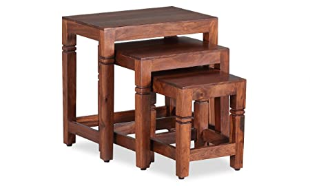 Ringabell Hife Solid Wood Nest of Table Set of 3 (Honey Finish)