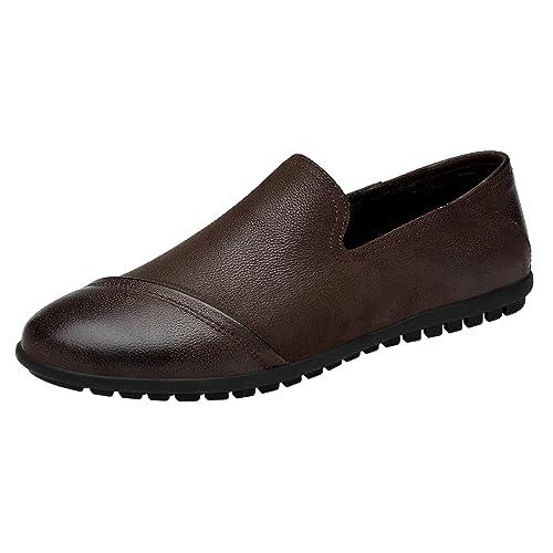 LessMore - Mocasines de Piel Vuelta para Hombre: Amazon.es: Zapatos y complementos