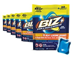 Biz Laundry Detergent Liquid Boosters, Stain & Odor Removal - 120-Count