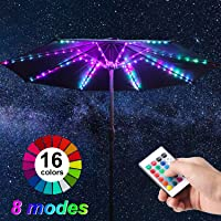Patio Umbrella String Lights, 104 Bright LEDs 12 Modes USB Battery Operated Cordless Umbrella Light, Remote Control Waterproof Outdoor Pole Lights for Patio Umbrellas Camping Tents