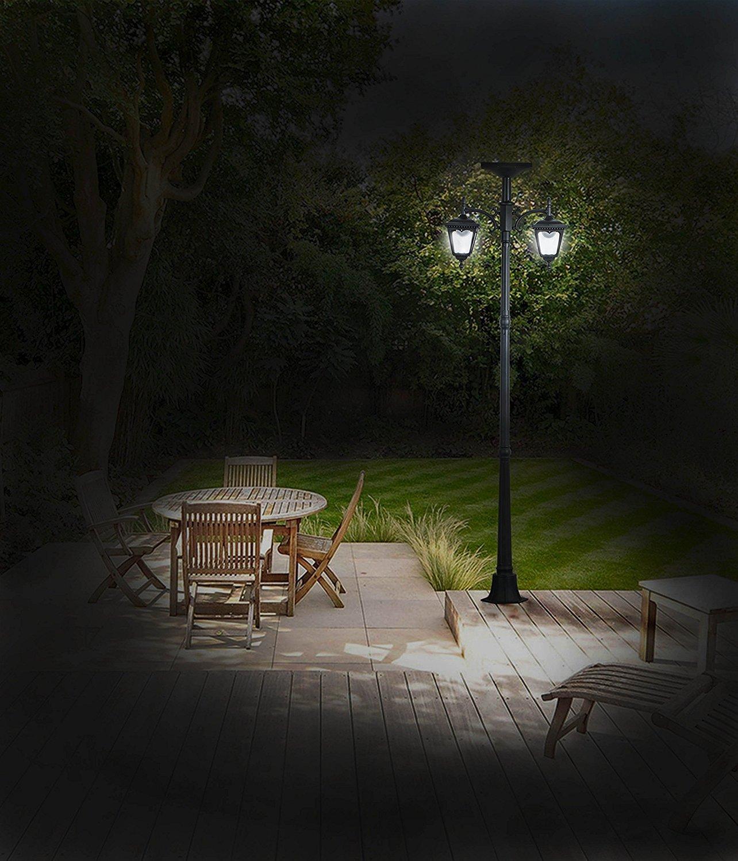 KANSTAR 83'' Cast-Aluminum Solar-Powered LED Streetlight-Style Outdoor Light Lamppost