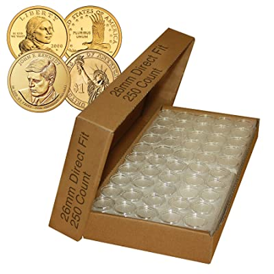 Merrick Mint 250 Direct Fit Airtight 26mm Coin Holder Capsules for Presidential $1 /SACAGAWEA: Toys & Games
