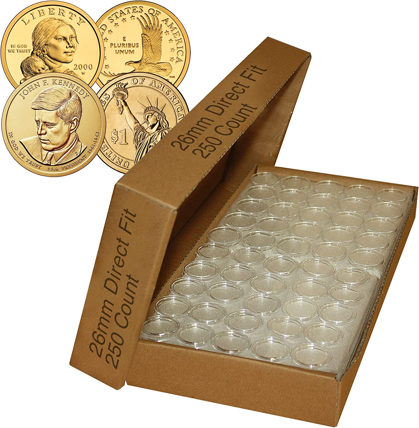 25 coin holders 30.6mm direct fit coin capsules for JFK HALF DOLLAR