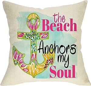 Pycat The Beach Anchors My Soul Throw Pillow Cover 18 x 18 for Sofa Couch, Summer Coastal Nautical Home Outside Farmhouse Cushion Case Decor, Seasonal Decorative Pillowcase Cotton Linen Decorations