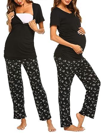 9b70072e989cf Ekouaer Women's Maternity Pajamas Set Short Sleeve Breastfeeding Sleepwear  Set Tee & Pants Loungewear Set (