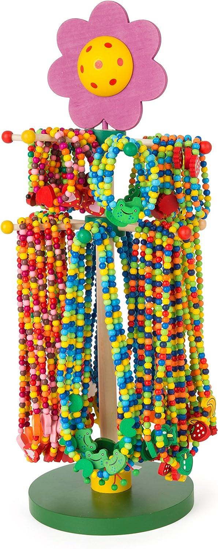 Small Foot 10787 - Expositor con coloridas joyas de madera hechas de perlas de colores con bonitos colgantes, 36 collares y pulseras cada uno , color/modelo surtido