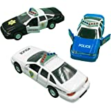 Police Car Die Cast Metal, 5 Inch Pull Back Police Cars, Open-able Doors, Rubber Tires, Full Metal Body, Set of 3