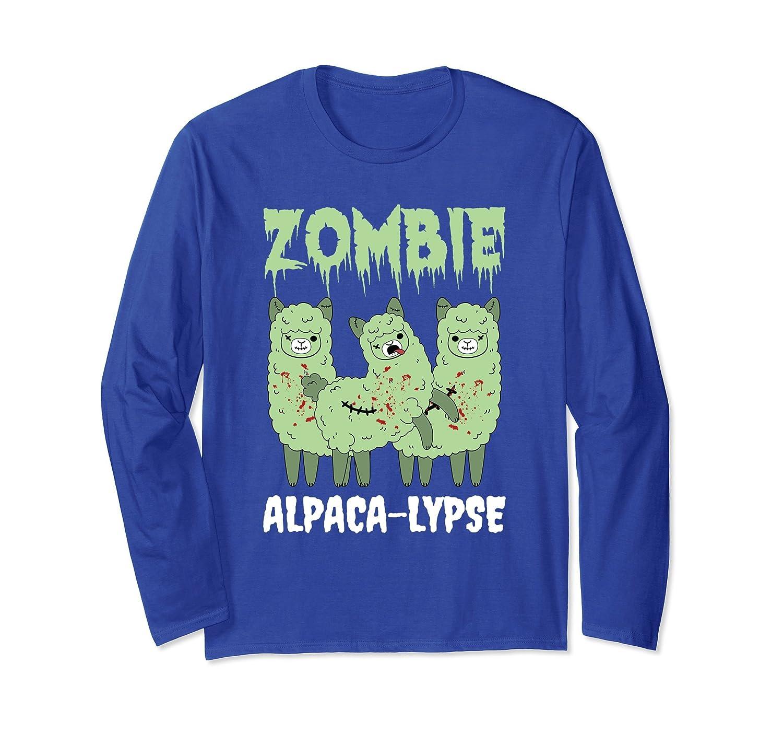 Zombie Alpaca-Lypse Dead Animal Funny Long Sleeve T-Shirt-mt