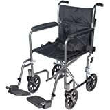"""Drive Medical Lightweight Steel Transport Wheelchair, Fixed Full Arms, 17"""" Seat, Silver Vein"""