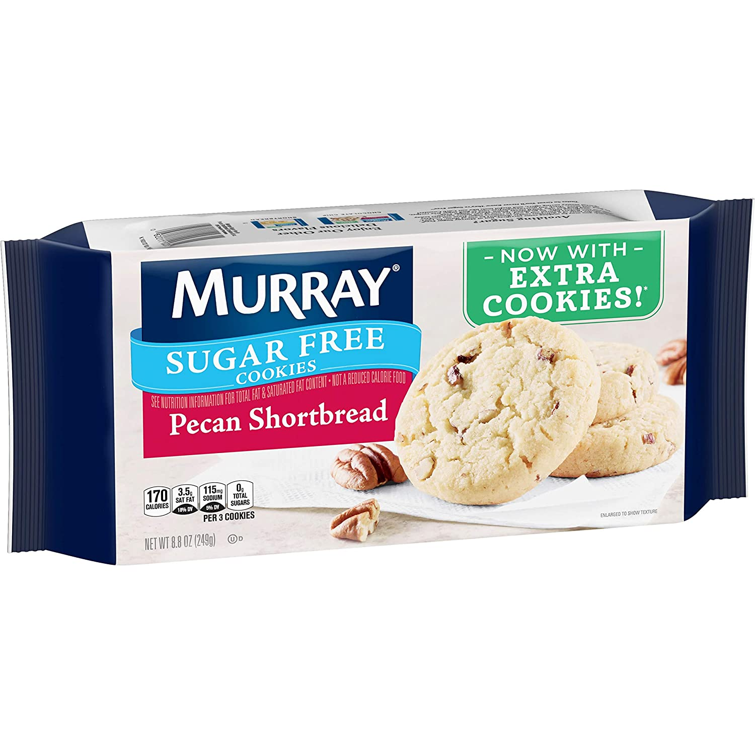 Murray Sugar Free Cookies, Pecan Shortbread, 8.8 Ounce Tray, Pack of 12