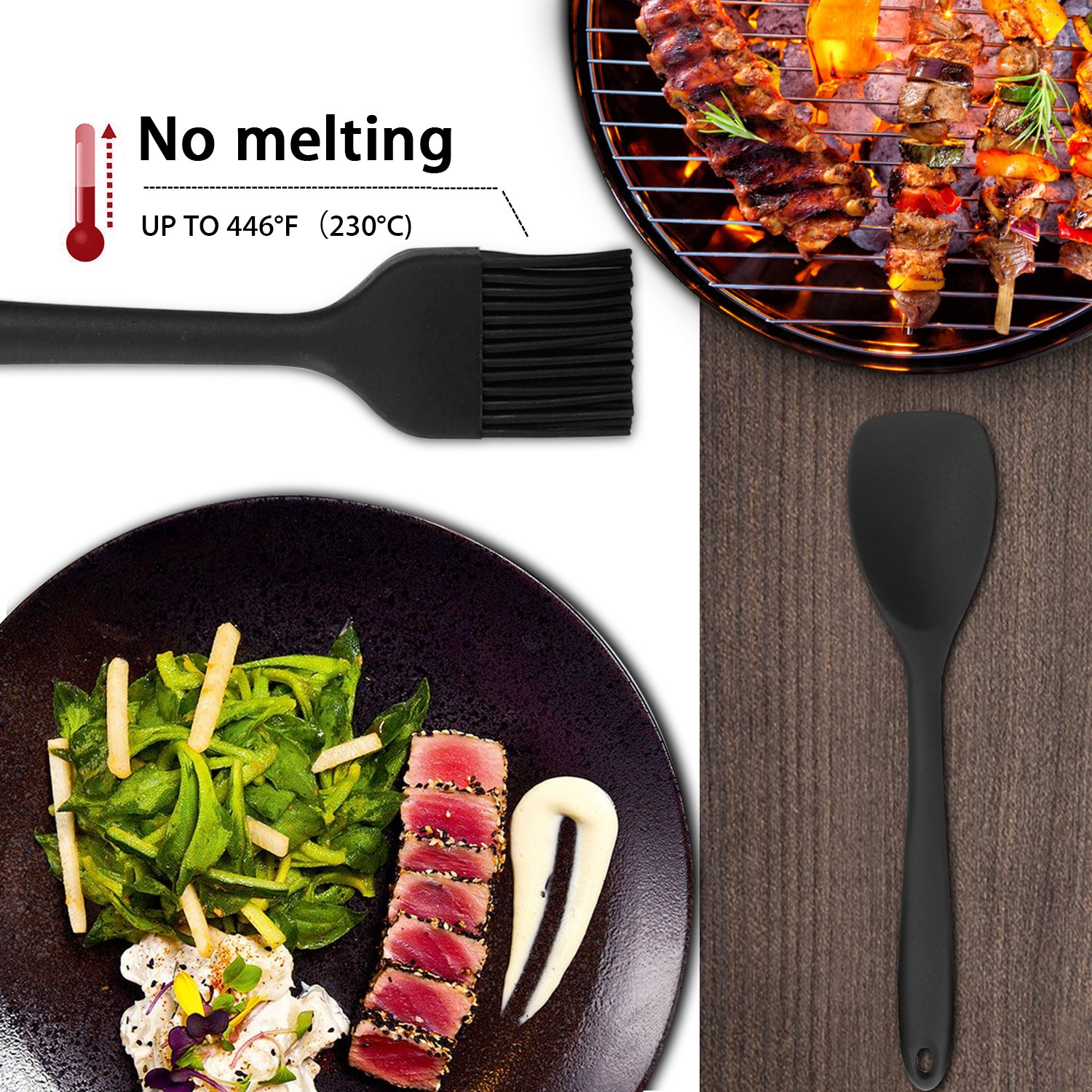 iHomey Silicone Kitchen Utensil Set, 10 Nonstick/Heat Resistant Cooking Utensils - Tongs, Whisk, Spoons, Spatulas, Ladle, Flexible Turner, Pasta Server, Brush - Dishwasher Safe(Black) by iHomey (Image #4)