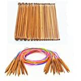 "Bamboo Circular Knitting Needles Set with 47"" Colorful Flexible Tube ,Single Pointed Bamboo Knitting Needles Set 10"" 18 Sizes(2.0mm--10.0mm) RELIAN"