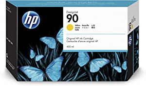 HP 90 Yellow 400-ml Genuine Ink Cartridge (C5090A) for DesignJet 4500 MFP, 4500 & 4000 Series Large Format Printers