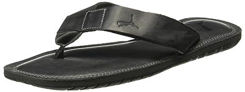 14a8722aceb0 Puma Men s Paramount Citronelle-Asphalt Black Leather Flip Flops Thong  Sandals-10 UK