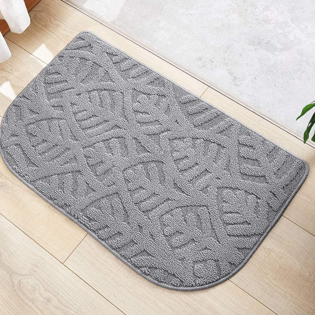 HCG Non Slip Doormat 28x16.9inch Front Back Door Mat Absorbent Rubber Backing Pad for Home Entrance Kitchen Bathroom Light Grey