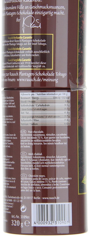 Amazon.com : Rausch Plantagen-Schokolade Tobago Edel-Bitter Schokolade, Dose mit 8 Sticks, Kakao: 75 %, 1er Pack (1 x 320 g) : Grocery & Gourmet Food