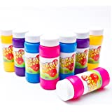 Fun Central (AU160) 2 oz Bubble Bottle, Bubble Solution Refill, Bubbles For Kids, Bubble Gun Refill, Toys for Kids- for Pool, Birthday, Wedding, Party Favors - 12 Pack in Assorted Colors