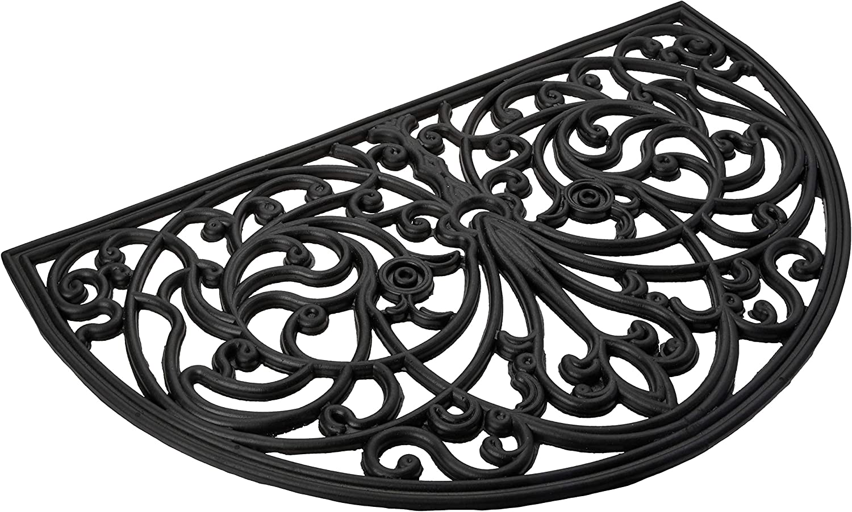 Achim Home Furnishings Wrm1830iw6 Ironworks Wrought Iron Rubber Door Mat 18 By 30 Black Garden Outdoor