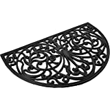 """Achim Home Furnishings WRM1830IW6 Ironworks Wrought Iron Rubber Door Mat, 18 by 30"""",Black"""