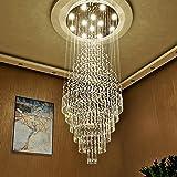 Luxury Large Foyer Chandelier, Modern 12-Lights Crystal Round Raindrop Chandelier Flush Mount Ceiling Light Fixture Chrome Li