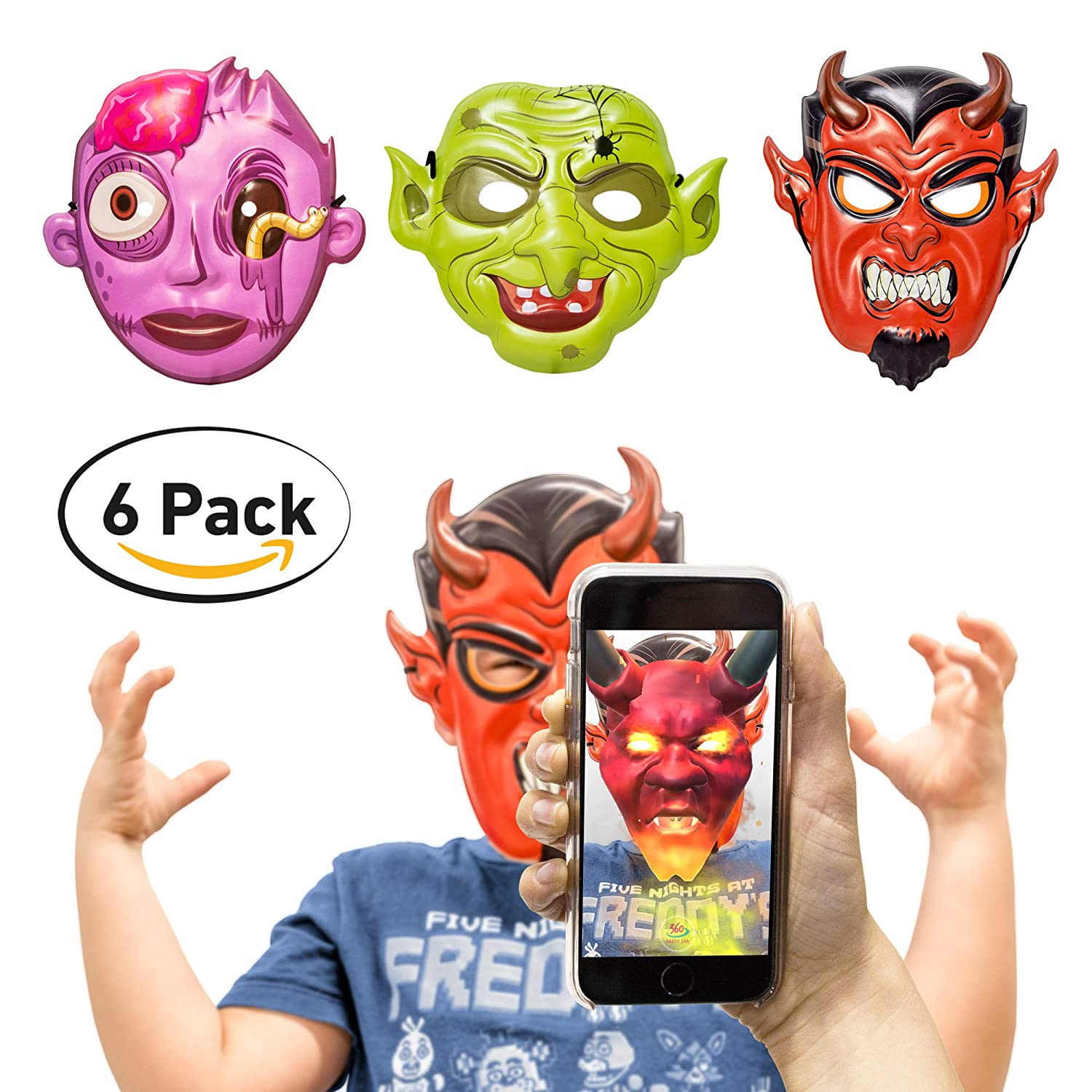 360 Party Lab Kids Scary Halloween Masks Augmented Reality 6 Pack 2 Devil 2 Witch 2 Zoombie