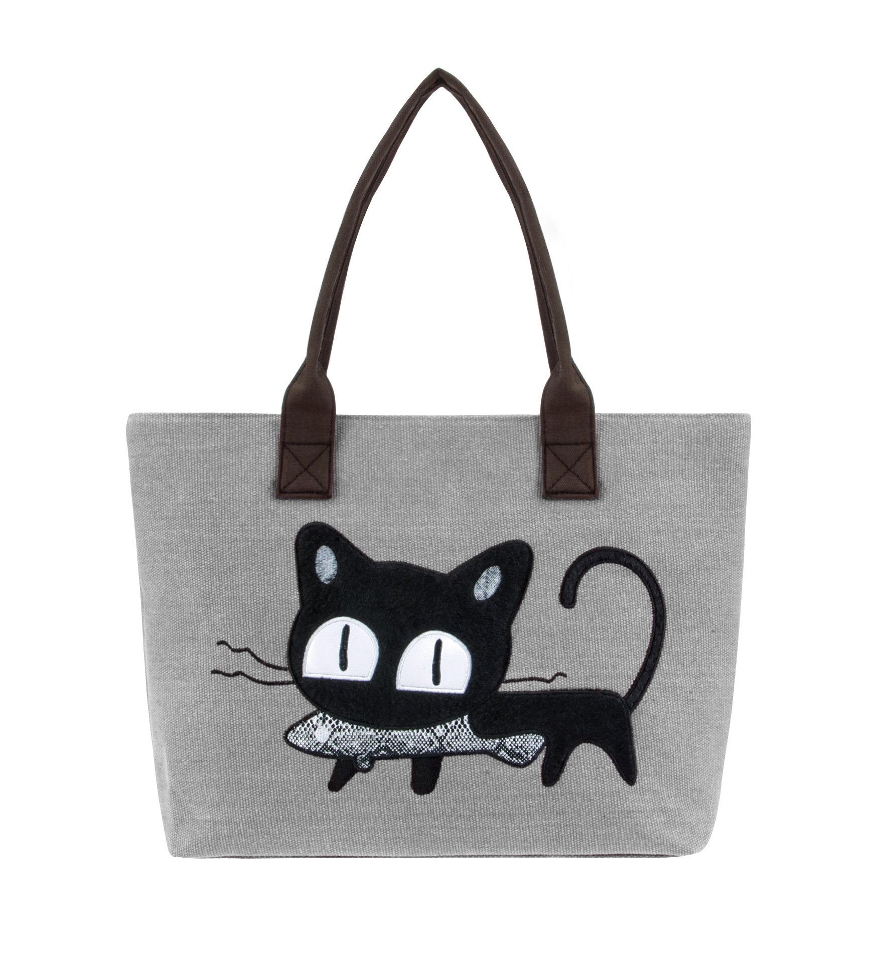 Tom Clovers Cat Animal Tote Bag Large Utility Canvas Shoulder Purse Top Handle Handbag Beach Satchel Bag Women Girl with Zipper Grey