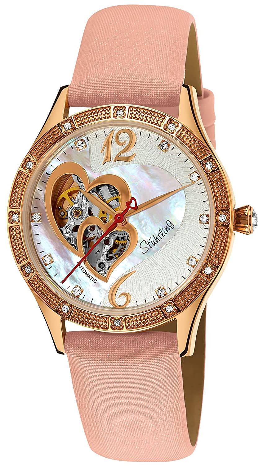 Amazon.com: Stuhrling Original Womens 196A.124A4 Vogue Harmony Automatic Skeleton Swarovski Crystals Mother-Of-Pearl Pink Watch: Watches