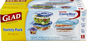 Glad Food Storage Containers - Variety Container Pack - 9 Containers - 18 Piece Set & Amazon.com: Glad Food Storage Containers - Variety Container Pack ...