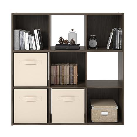 Realrooms Tally 9 Cube Bookcase Medium Brown