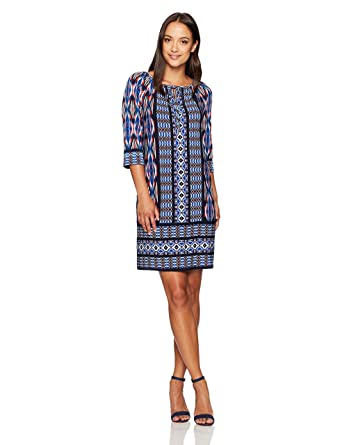 97cf7639213 London Times Women s Petite 3 4 Sleeve Scoop Neck Jersey Shift Dress at  Amazon Women s Clothing store