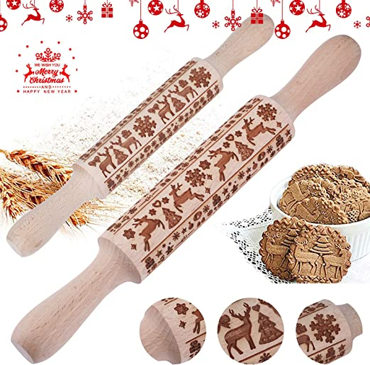Christmas Wooden Rolling Pin Embossed Stick with Christmas Deer and Tree Pattern