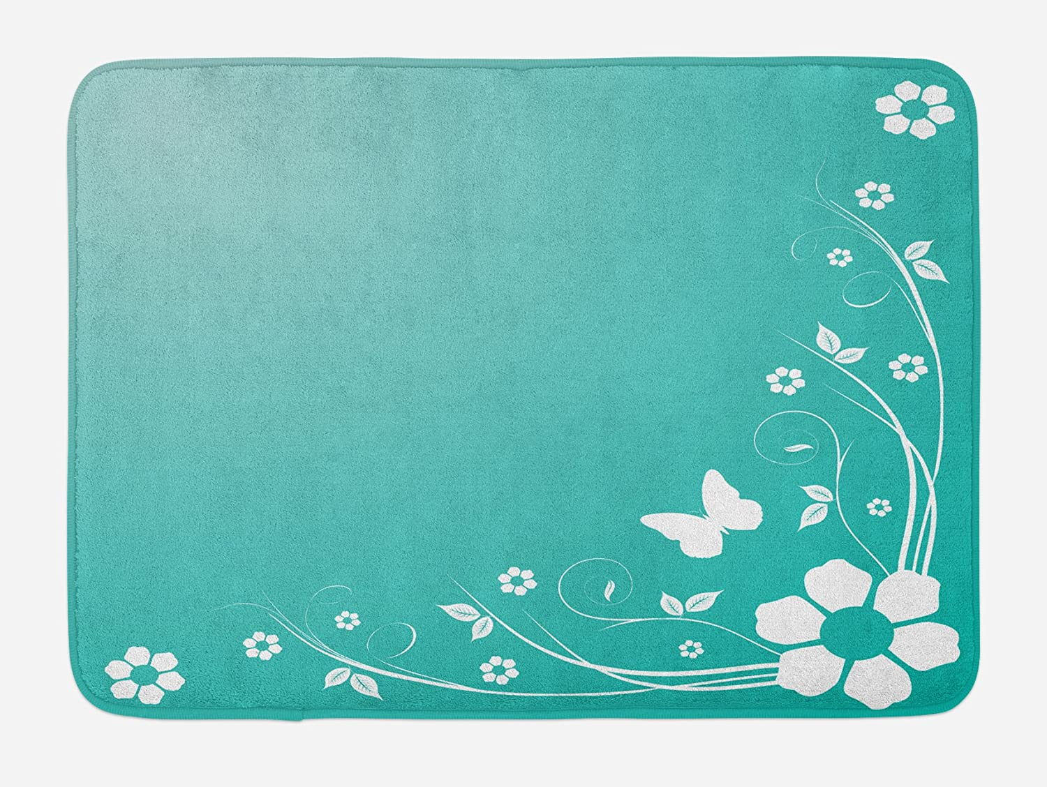 Lunarable Turquoise And White Bath Mat Flower Silhouette Leaves Butterfly On Abstract Background Plush Bathroom