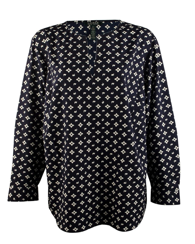 Lauren Ralph Lauren Women's Plus Size Split-Neck Tunic Top