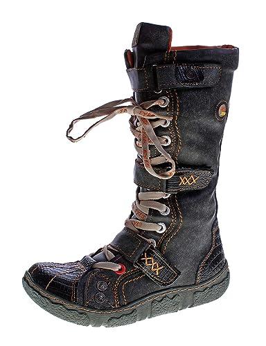73f71627b6c9 Damen Leder Winter Comfort Stiefel gefüttert echt Leder Schuhe TMA 7086 Neu  Schwarz-Grau Gr