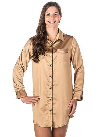 634acbc708 Noble Mount Womens Premium Satin Long Sleeve Sleep Shirt at Amazon Women s  Clothing store