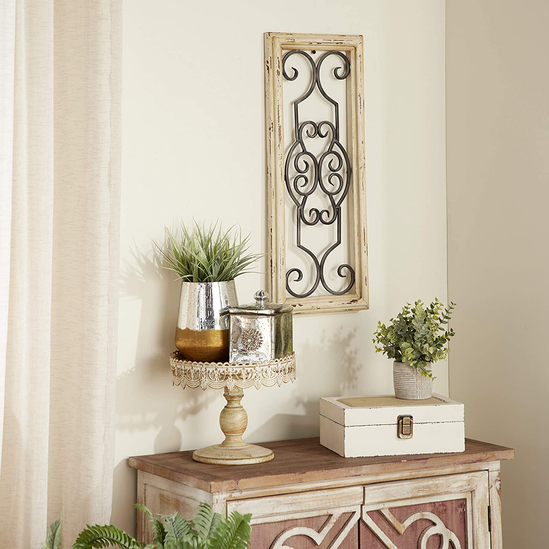"Deco 79 52732 Wood Metal Wall Panel, 25"" H x 10"" W, 25 x 10, Ivory"