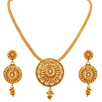 d02a63cd886cd3 Buy JFL - Jewellery for Less Traditional Ethnic One g Gold Plated Polki Designer  Pendant Set with Earring for Women Online at Low Prices in India | Amazon  ...